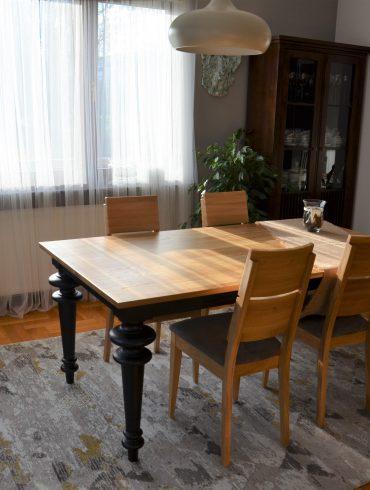 stół toczony czarny dębowy