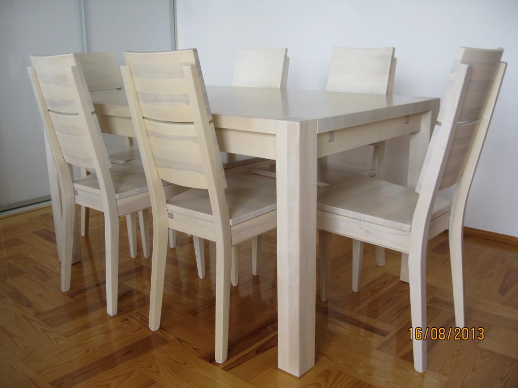 Stół i krzesła Spring K2 z drewna uka twardzielowego bielone