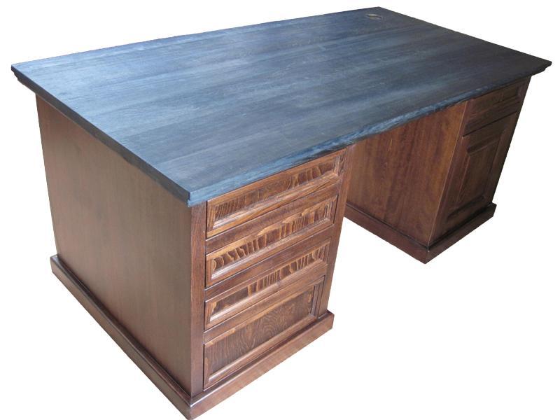 biurko z litego drewna bukowego i dębowego