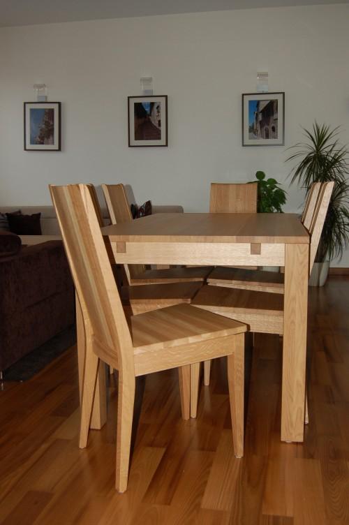 komplet mebli dębowych, krzesła dębowe, stół dębowy, meble dębowe na wymiar