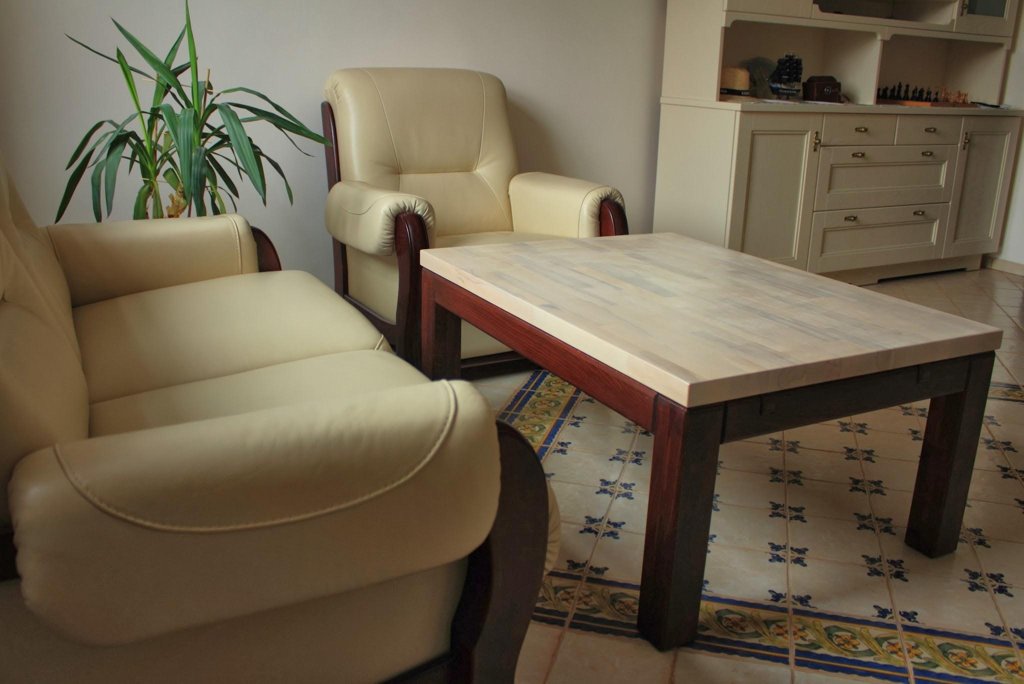 Stolik kawowy 4cm Stolik drewniany dwubarwny