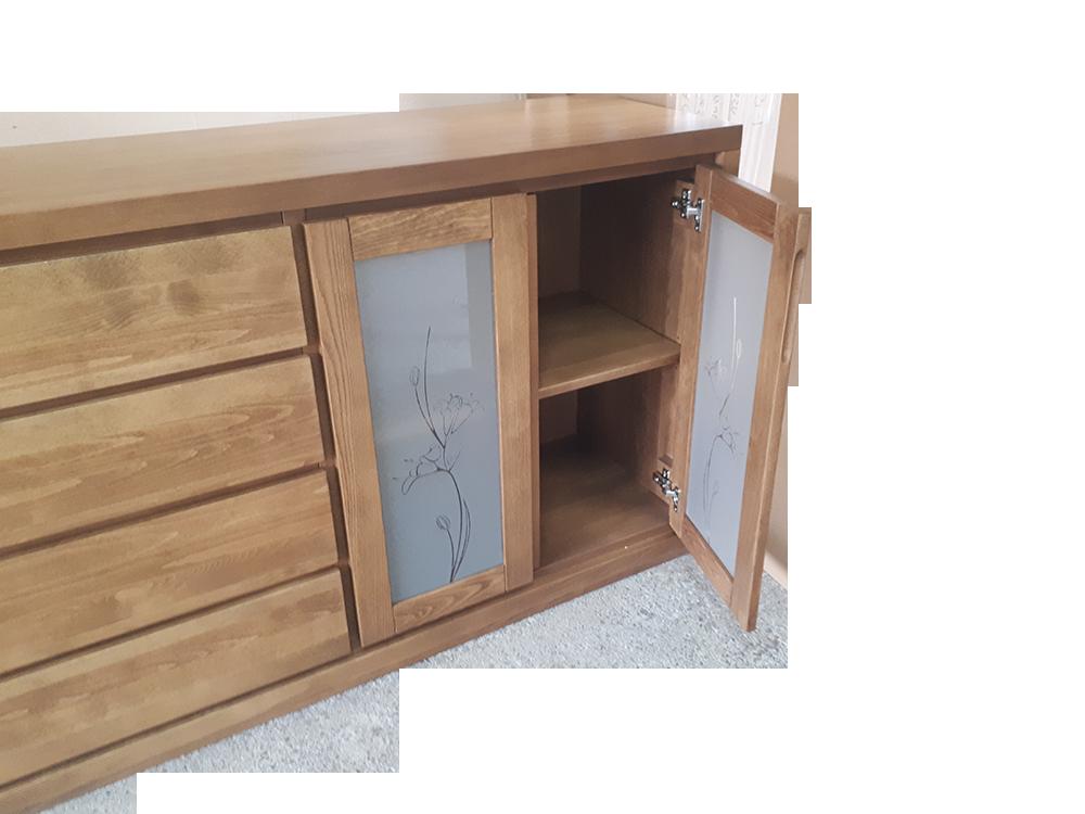 komoda bukowa Almera szuflady i drzwi ze szkłem zdobionym