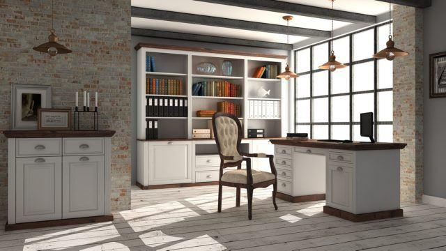 rustykalne białe mebla biurowe