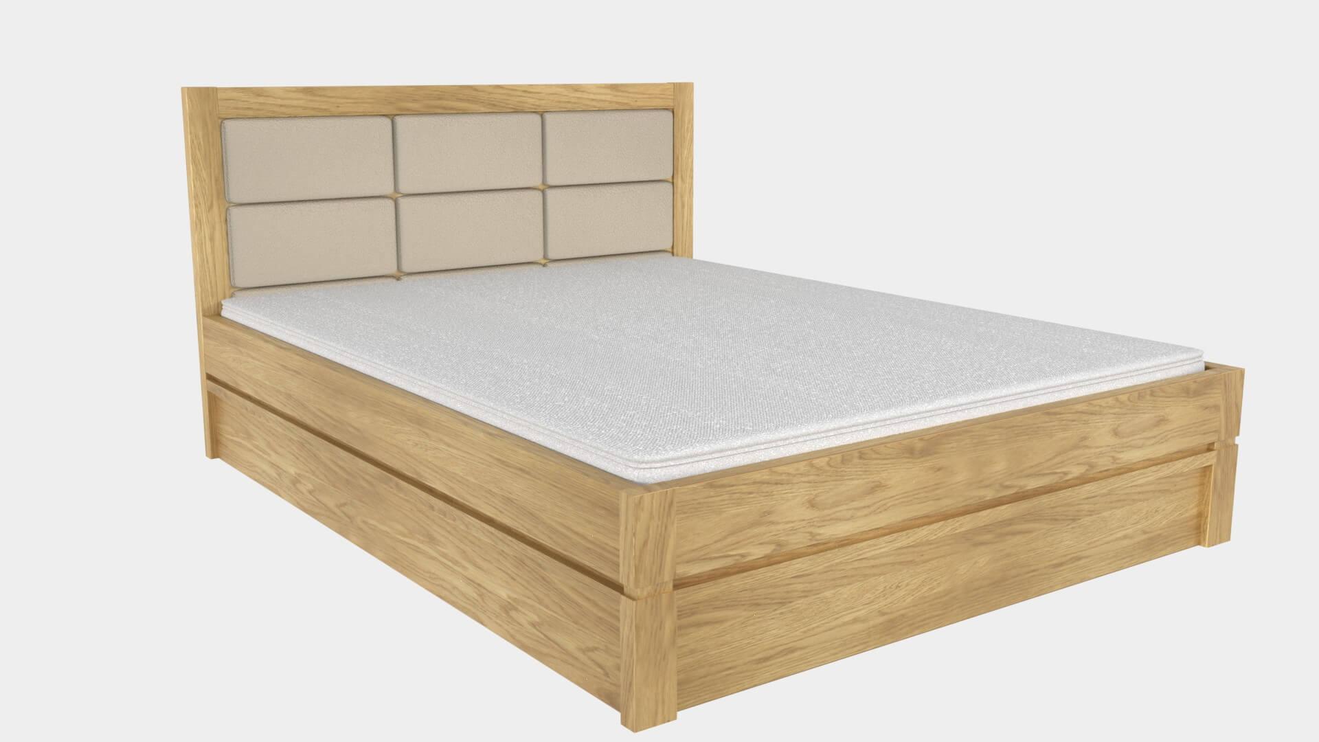 łóżko lk10 tapicerowane dąb jasny