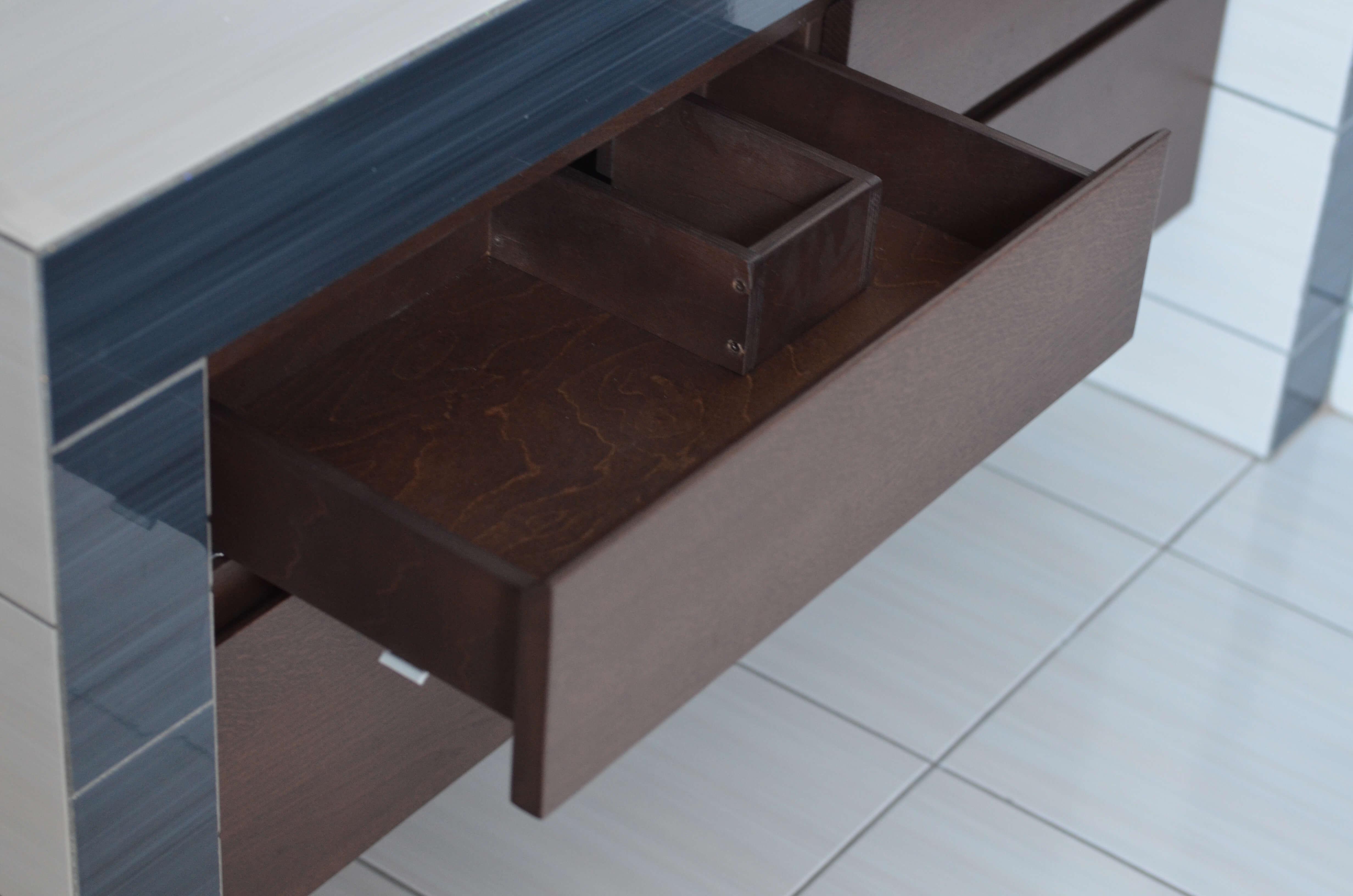 szuflada pod umywalkę z wycięciem na syfon