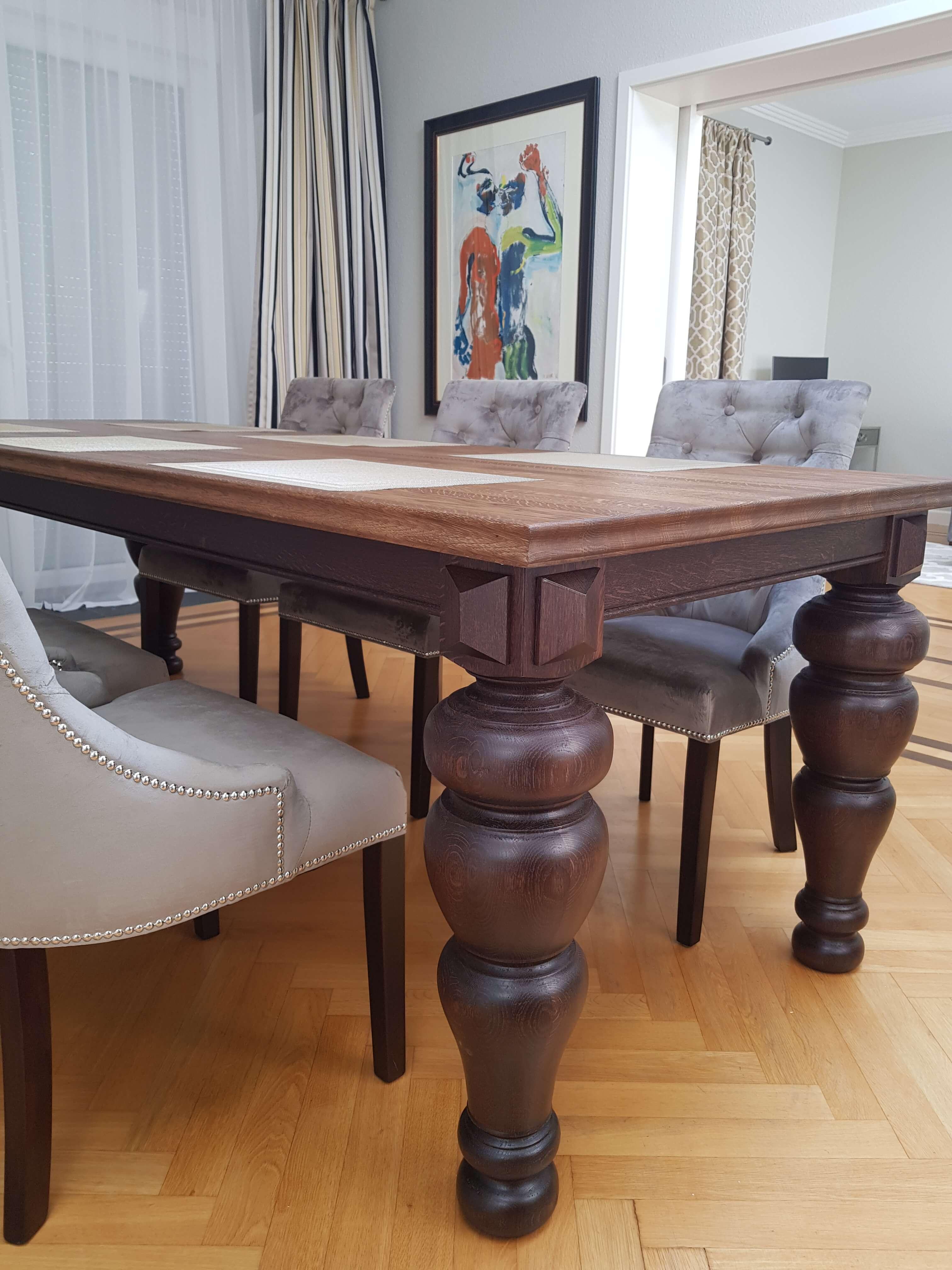 stół glamour nogi toczone masywne dębowe