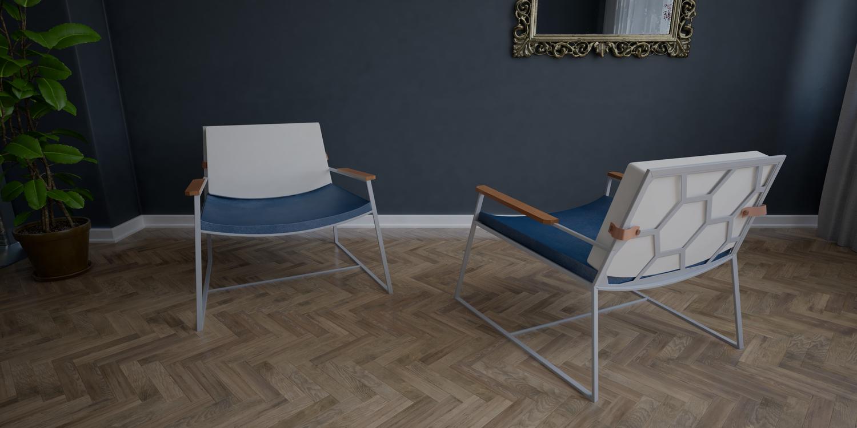 Fotel Marconi szaro niebieski
