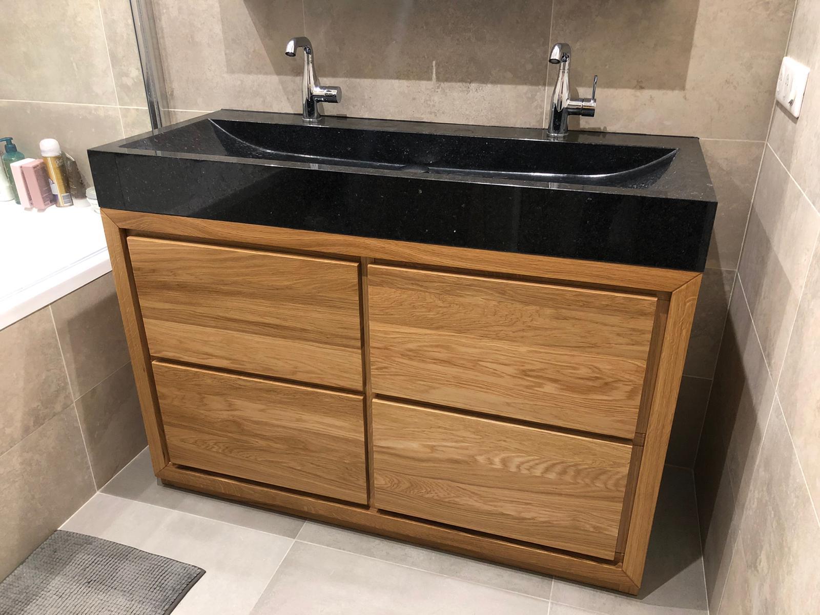 szafka łazienkowa drewniana dębowa